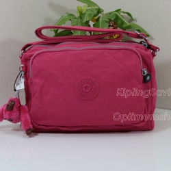Kipling Reth Vibrant Pink กระเป๋าสะพาย หลายช่องซิป จุมาก น่าใช้ ขนาด 10.5 x 6.75 x 5.75 นิ้ว