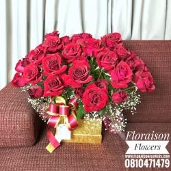 กล่องดอกไม้ กุหลาบแดง (XL)