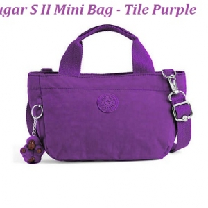 Kipling Sugar S II Tile Purple กระเป๋าหิ้วกุ๊กกิ๊ก หรือสะพายน่ารัก ในรุ่นที่ 2 ขนาด L 11.5 x H 6.25 X D 6 นิ้ว