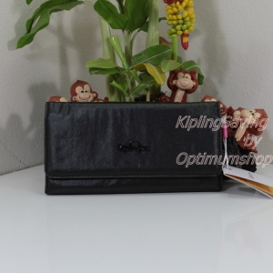 Kipling Brownie Metallic Black กระเป๋าสตางค์ใบยาวผ้าเคลือบ ขนาด 19 L x 10 H x 3 W cm