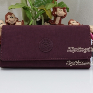 Kipling Brownie สี Crimson กระเป๋าสตางค์ใบยาว ขนาด 19 L x 10 H x 3 W cm