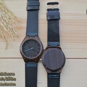 Wooden ChroNos นาฬิกาข้อมือไม้ สลักข้อความได้ สายหนังนิ่ม WC111