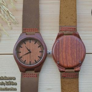 Wooden ChroNos นาฬิกาข้อมือไม้ สลักข้อความได้ สายหนังนิ่ม WC104