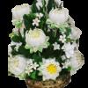 พานพุ่มทรงสูงดอกบัว,ดอกพุทธสีชมพู,สีขาว (พร้อมกรอบ)