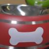 ชามใส่อาหารสุนัข ลายกระดูก สีแดง