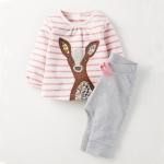 W052 : Set 2 ชิ้น เสื้อแขนยาวปักลายกวาง + กางเกงขายาวสีเทา