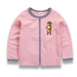 W064 : เสื้อแขนยาวสีชมพูพิมพ์ลายหมีติดซิปด้านหน้า