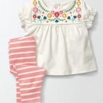 W127 : Set 2 ชิ้น เสื้อแขนตุ๊กตาปักลาย + กางเกงขาวยาว