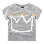 (SOLD OUT) W012 : เสื้อแขนสั้นสีเทาพิมพ์ลายมงกุฎเจ้าชาย