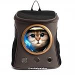 กระเป๋าแคปซูลแมวอวกาศ กระเป๋าเป้อวกาศ (สีเทาเข้ม)