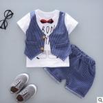 W021 : Set 2 ชิ้น เสื้อแขนสั้นสีขาวติดเสื้อกั๊ก + กางเกงขาสั้นสีฟ้าลายทาง (3)