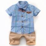 W017 : Set 2 ชิ้น เสื้อเชิ๊ตแขนสั้นสีฟ้าพิมพ์ลาย + กางเกงขายาวสีน้ำตาลอ่อน (3)