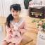 W084 : เดรสสาวน้อยแขนยาวผ้ายืดสีชมพูดีไซน์คอแหลมแต่งระบาย thumbnail 4