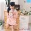 W084 : เดรสสาวน้อยแขนยาวผ้ายืดสีชมพูดีไซน์คอแหลมแต่งระบาย thumbnail 3