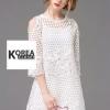 ชุดเดรสแฟชั่น Lilly Cut Shoulder Lace Dress by ChiCha's สีขาว