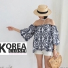 Korea Embroidery Open Shoulder Top