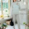 เสื้อลูกไม้ Balloon-Sleeve Embroidered Blouse