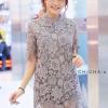 เดรสลูกไม้ 3D Floral Lace Dress สีเทา