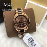 MICHAEL KORS Bradshaw Chronograph Brown Dial Rose Gold-tone and Tortoiseshell Acetate Ladies Watch MK5944