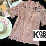 เสื้อแฟชั่น Shot-Sleeve Embroidered Lace Blouse สีชมพู