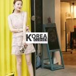 ชุดเดรสแฟชั่นลูกไม้ Lollita Lace Dress สีชมพู
