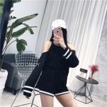 ชุดเซ็ทแฟชั่น Set : Korea Cut-Out Shoulder Two-Tone wt Shorts