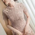 ชุดเดรสMyStyle Lace Dress สีชมพู