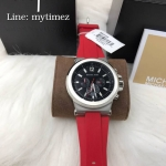 MICHAEL KORS Dylan Chronograph Black Dial Stainless Red Band MK8169