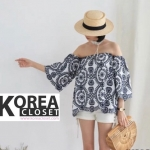 Korea Embroidery Open Shoulder Top