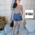 กางเกงขาสั้น งานเกาหลี สีฟ้าคราม