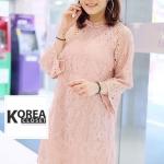 ชุดเดรสแฟชั่น Gracy Lace Dress by ChiCha's สีชมพู