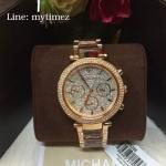 Michael Kors Rose Gold Parker Diamond Dial Watch MK6285