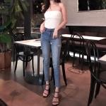 กางเกงยีนส์ Cutout Skinny Jeans