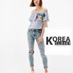 เสื้อแฟชั่น ZARA : Flower Embroidered Striped Off Shoulder Blouse