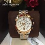 Michael Kors Brookton Chronograph White Dial Two-tone Ladies Watch MK5763