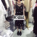 ชุดเดรสแฟชั่น Embroidery Insect Net Dress