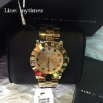 นาฬิกาข้อมือ Marc Jacobs Amy Gold Tone Multi Glitz Dial Women's Watch MBM3141