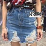 กระโปรงยีนส์แฟชั่น Distress Skirt Jean