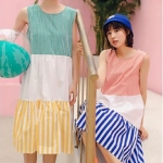 ชุดเดรส Colorful Pattern Sleeveless A-Line Dress