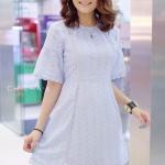 มินิเดรส Mini Mo Embroidered Dress สีฟ้า