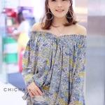 เสื้อแฟชั่น V Vintage Floral Blouse