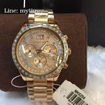 Michael Kors Brinkley Chronograph Rose Dial Rose Gold-tone Ladies Watch MK6204