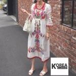 แม็กซี่เดรส Boho Embroidery Maxi Dress