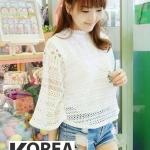 เสื้อแฟชั่นเกาหลี Korean Elegance Lace Blouse by Chicha's