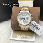 Michael Kors Ritz Chronograph Mother of Pearl Dial Tricolor Steel Ladies Watch MK5650
