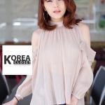 Very Pleaty Cut-Shoulder Blouse by ChiCha's