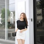 กระโปรง Korea Insets Shorts Skirt สีขาว
