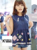 เสื้อแฟชั่น Floral Embroidery Sleeveless Blouse - สีกรม