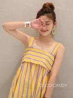 แม็กซี่เดรส Bow Back Stripe Maxi Dress สีเหลือง