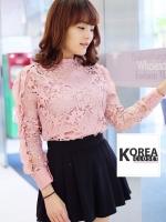 เสื้อแฟชั่น Elegance Lace Blouse by ChiCha's สีชมพู